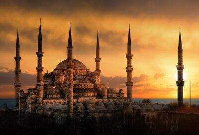 Obraz Modrá mešita v Istanbulu při západu slunce