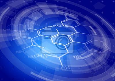 modrá radiální technologické zázemí a chemické vzorce