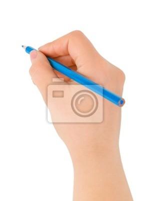 Modrá tužka v ruce