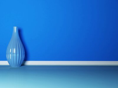 modrá váza v modrém pokoji