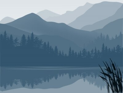 Obraz modré a šedé jezero v horském lese