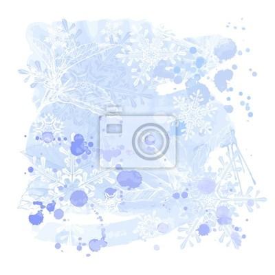 modré grunge akvarely pozadí a sněhové vločky