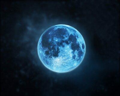 Obraz Modrý úplněk atmosféra na tmavém pozadí noční oblohy, Prvky tohoto obrázku zařízený NASA