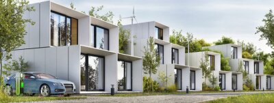 Obraz Modular houses of modern architecture and an electric car