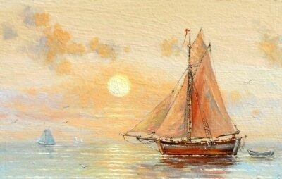 Obraz Moře, lodě, rybář, olejomalby