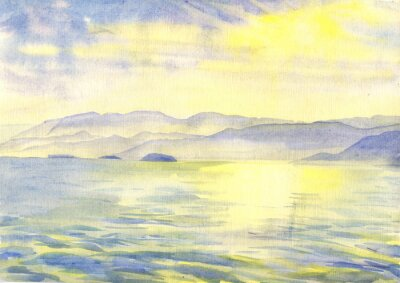 Obraz Mořem a horami. Krajina. akvarelu