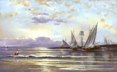 Obraz Mořská krajina, rybář, olejové digitální obrazy