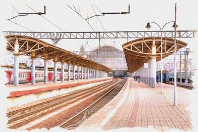 Obraz Moscow city. Railway station platform. Imitation of a picture. Oil paint. Illustration