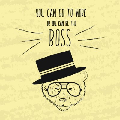 Obraz Motivační retro ruční kreslení plakát pro dosažení cílů s moudrých vět o šéfem a podnikání. Ručně malované Vector