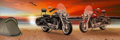 Obraz Motocykl, kolo na pláži při západu slunce ve večerních hodinách