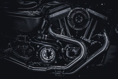 Obraz Motocyklové motorové výfukové potrubí výtvarné fotografie v černém a bílém vinobraní tón