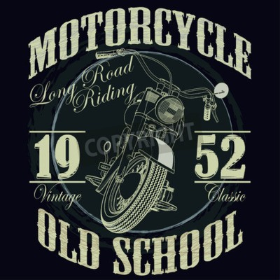 Obraz Motocyklové závody Typografie Graphics. Staré školy na kole. Tričko design, vektorové ilustrace