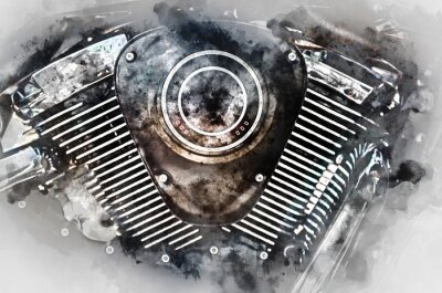 Obraz Motocyklový motor close-up. Digitální akvarelu.