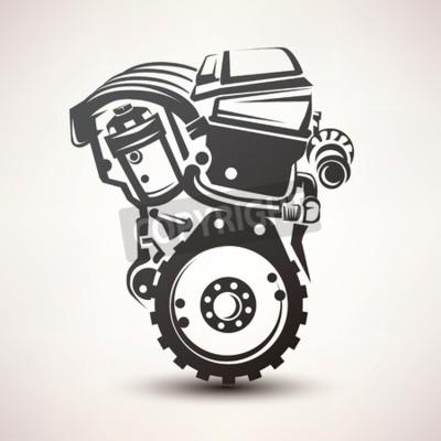 Obraz Motor vozu symbol, stylizované vektoru ikonu siluetu