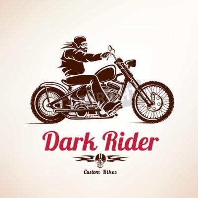 Obraz motorkář, motocyklu grunge vektor silueta, retro znak a štítek