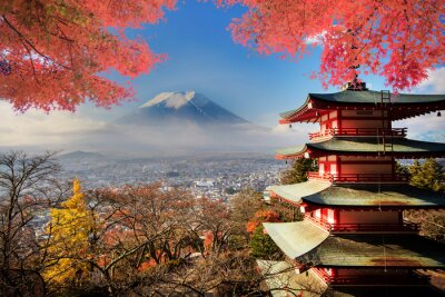 Obraz Mt. Fuji s poklesem barvy v Japonsku.