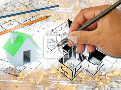 Multi exposure of hand drawing home plot plan with for Plot plan drawing