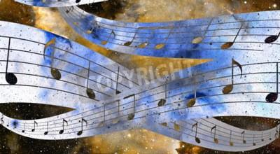 Obraz music note a vesmír a hvězdy s abstrtact barvě pozadí