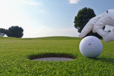 Obraz muž, který tlačit míč do golfové hole