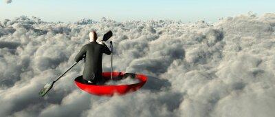 Obraz Muž pádlování přes mraky v obrácené deštník