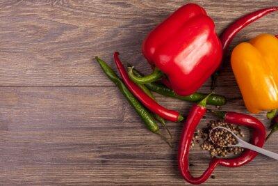 Obraz Na půdorysu chilli, paprikou a pepřem pikantní