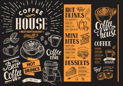 Obraz Nabídka kavárny. Nápojový leták pro bar a kavárnu. Šablona návrhu s vintage ručně kreslenými ilustracemi potravin.