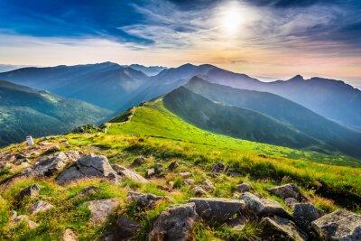Obraz Nádherný západ slunce v horách v létě