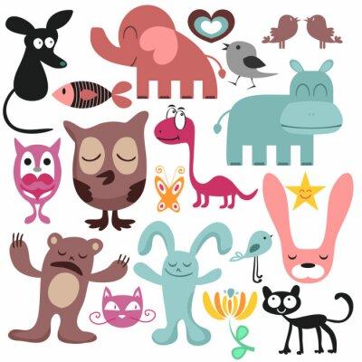 Obraz Náhodný sada různých legrační zvířata