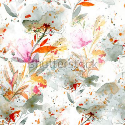 Obraz naivní akvarel - nalévání a stříkající. květinové motivy. ručně malované bezešvé vzor. zázemí pro textilní dekor a design. botanické tapety. boho chic umění květinový rámeček
