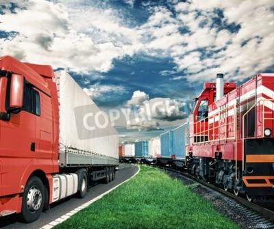 Obraz nákladní vlak a nákladní automobil jako dopravní koncepce