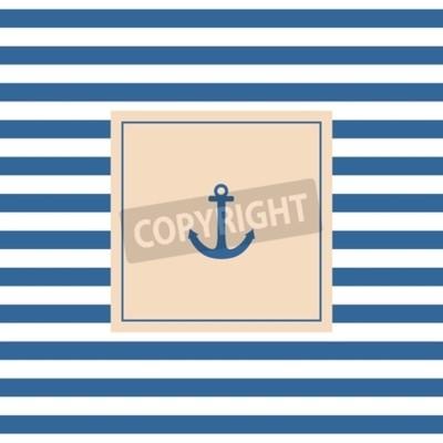 Obraz Námořní vektor karty nebo pozvání s kotvou pastelové pozadí a modrými bílými pruhy