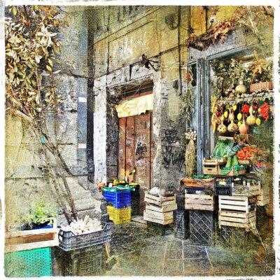 Obraz Napoli, Itálie - staré uličky s malými obchod, umělecké fotografie
