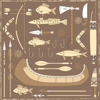 Obraz Native American fishing design elements