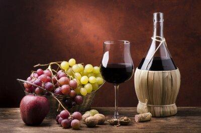 Obraz natura Morta con fiasko di vino efrutta