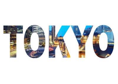 Obraz Název značka Tokyo City s fotografii v pozadí. Samostatný na bílém pozadí ..