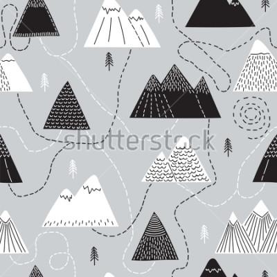 Obraz Nevhodných nevhodných vzorů se stromy a horami. Kreativní skandinávský lesní pozadí. Les. Stylová skica. Vektorové ilustrace