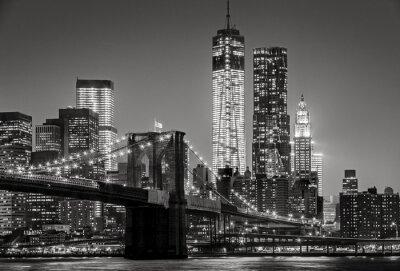 Obraz New York by night. Brooklyn Bridge, Lower Manhattan – Black an