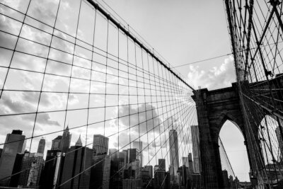 Obraz New York City, Brooklyn Bridge panorama černá a bílá