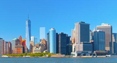 Obraz New York City dolní Manhattan Financial District budovy Wall Street panorama na krásný letní den s modrou oblohou