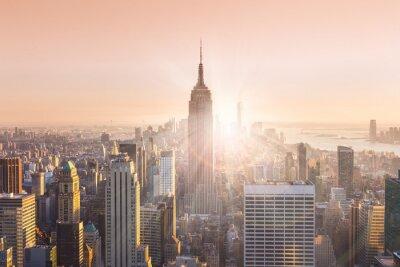 Obraz New York City Manhattan panorama v západu slunce.