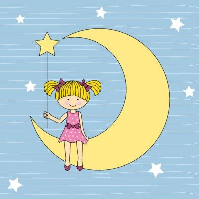 Obraz Niña en la luna sentada