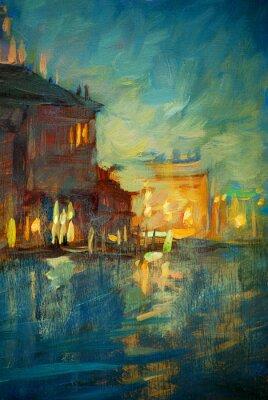 Obraz noc do Benátek, malba olejem na plátně, ilustrace