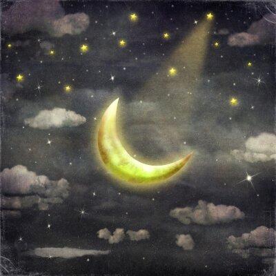 Obraz Noční čas s hvězdami a měsíc