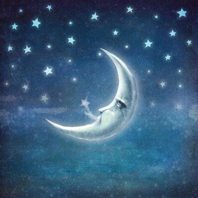 Obraz Noční čas s hvězdami a měsíc, pozadí