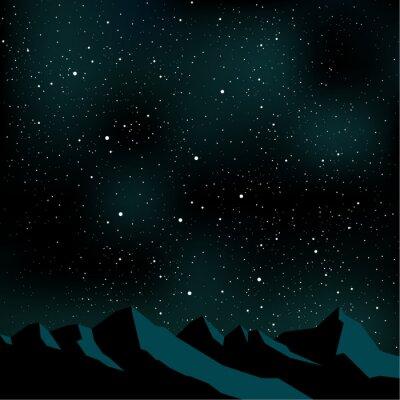 Obraz Noční obloha hvězd, horská krajina, vektorové ilustrace