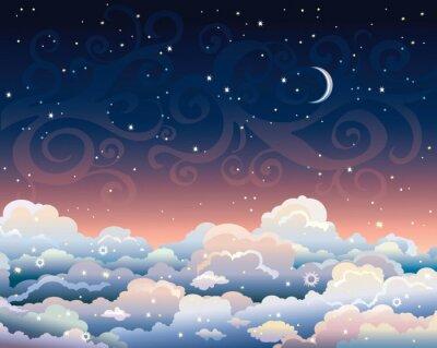 Obraz Noční obloha s mraky a měsíc.