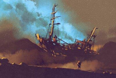 Obraz Noční scéna opuštěné lodi v poušti s stary nebe, ilustrační natírání