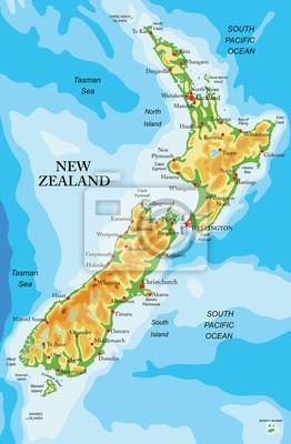 Nová fyzická mapa Nového Zélandu
