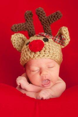 Obraz Novorozené dítě na sobě červená-čichal Reindeer Hat