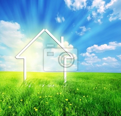 Nový domov představivost na zelené louce